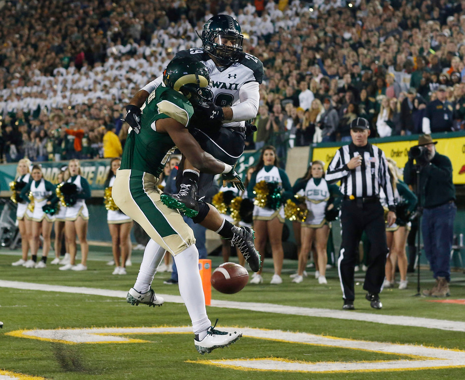 . Colorado State safety Trent Matthews, left, breaks up pass intended for Hawaii wide receiver Scott Harding in the end zone during the first quarter of an NCAA college football game in Fort Collins, Colo., on Saturday, Nov. 8, 2014. (AP Photo/David Zalubowski)