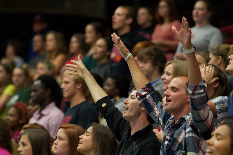 Students and the community worships during Fields of Faith.