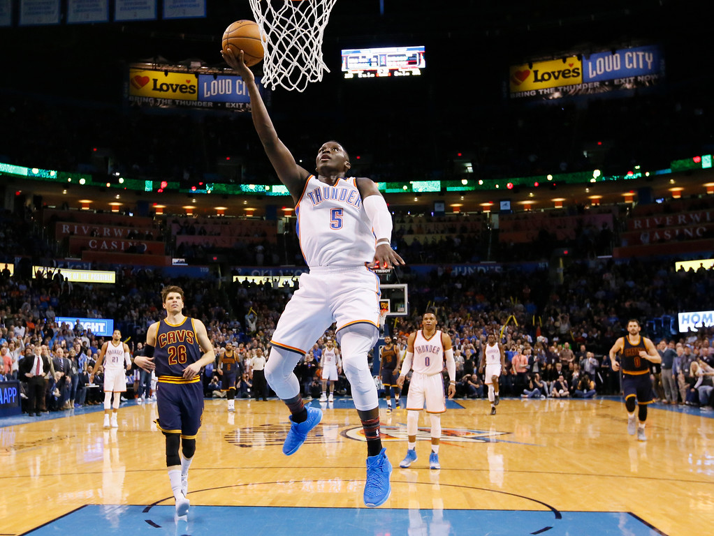 . Oklahoma City Thunder guard Victor Oladipo (5) shoots during the fourth quarter of the team\'s NBA basketball game against the Cleveland Cavaliers in Oklahoma City, Thursday, Feb. 9, 2017. Oklahoma City won 118-109. (AP Photo/Sue Ogrocki)