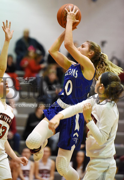 Harold Aughton/Butler Eagle: A.C. Valley's Baylee Blauser, #30, takes a shot in the second quarter against Moniteau.
