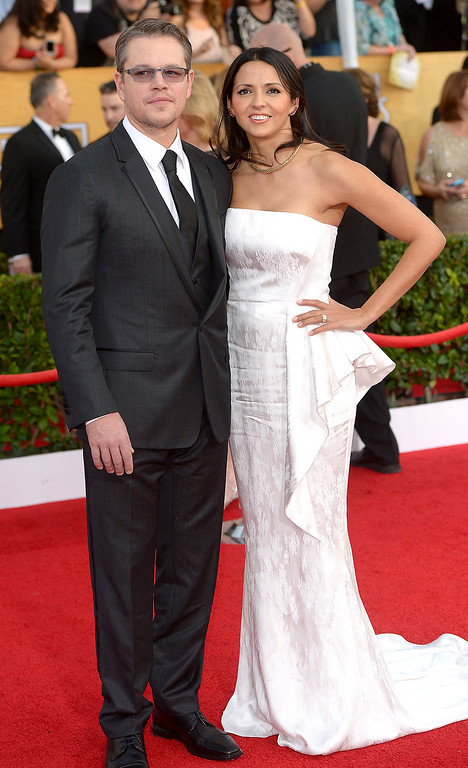 . Matt Damon and guest arrives at the 20th Annual Screen Actors Guild Awards  at the Shrine Auditorium in Los Angeles, California on Saturday January 18, 2014 (Photo by Michael Owen Baker / Los Angeles Daily News)