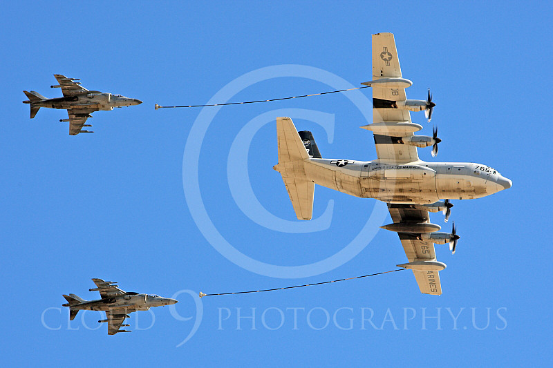AAR 00111 A USMC Lockheed KC-130 Hercules and two USMC McDonnell Douglas AV-8B VSTOL jet attack aircraft prepare to aerial refuel airplane picture, by Peter J Mancus.JPG