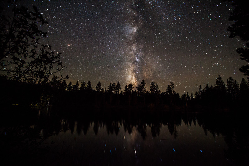 The milky way reflected in Manzanita Lake