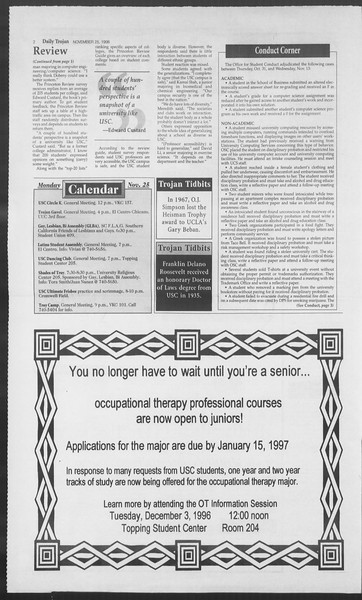 Daily Trojan, Vol. 129, No. 61, November 25, 1996