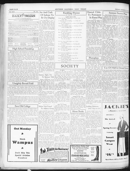 Daily Trojan, Vol. 22, No. 106, March 13, 1931