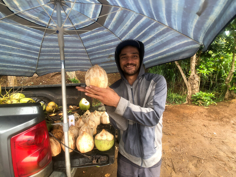 Alan Jones comes to Wailua Falls five days a week with a bunch of coconuts, which he carves up to drink for $5 a pop