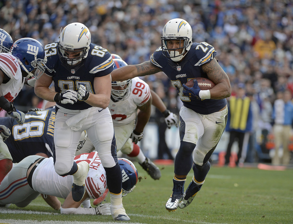 . SAN DIEGO, CA - DECEMBER 8:  Ryan Matthews #85 of the San Diego Chargers runs the ball against the New York Giants during their game on December 8, 2013 at Qualcomm Stadium in San Diego, California. (Photo by Donald Miralle/Getty Images)