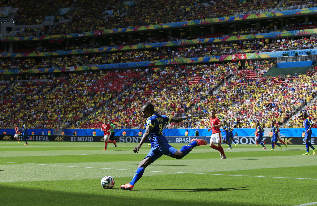. Ecuador\'s forward Enner Valencia kicks the ball during a Group E football match between Switzerland and Ecuador at the Mane Garrincha National Stadium in Brasilia during the 2014 FIFA World Cup on June 15, 2014. AFP PHOTO / ADRIAN DENNIS