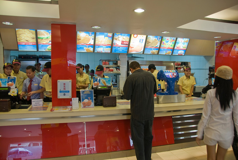 Counters inside KFC in Phnom Penh, Cambodia