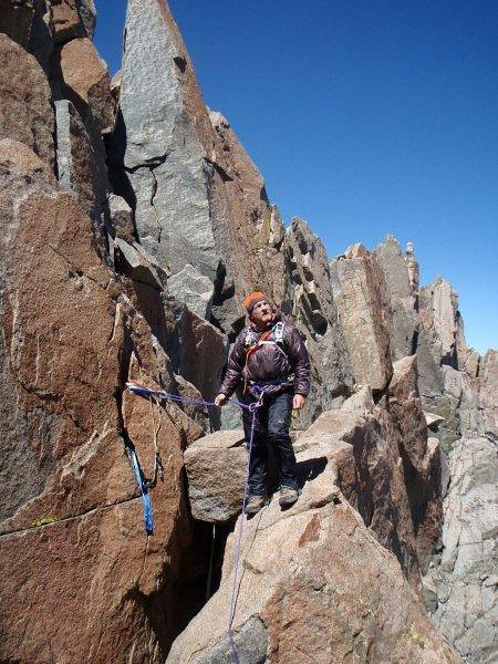 The second notch towards North Palisade (14,242 ft - 4.341 m) - the point where turned back during second attempt.