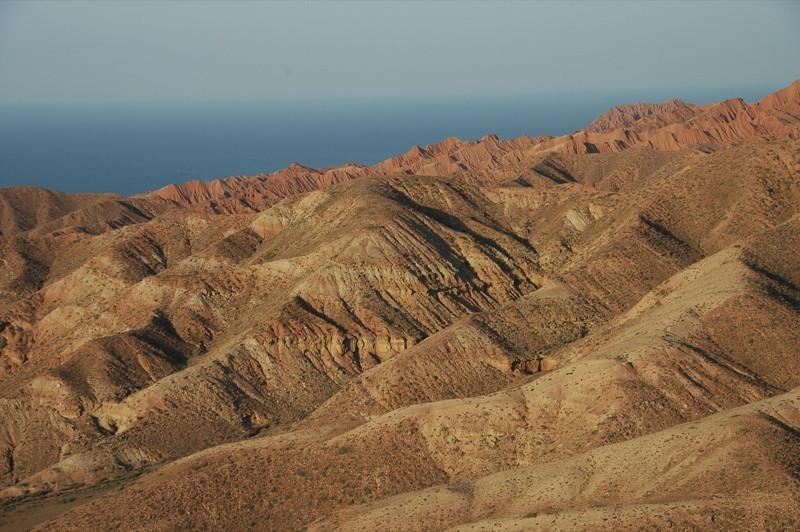 Red Rocks, Blue Waters of Lake Issyk-Kul - Manzhyly, Kyrgyzstan