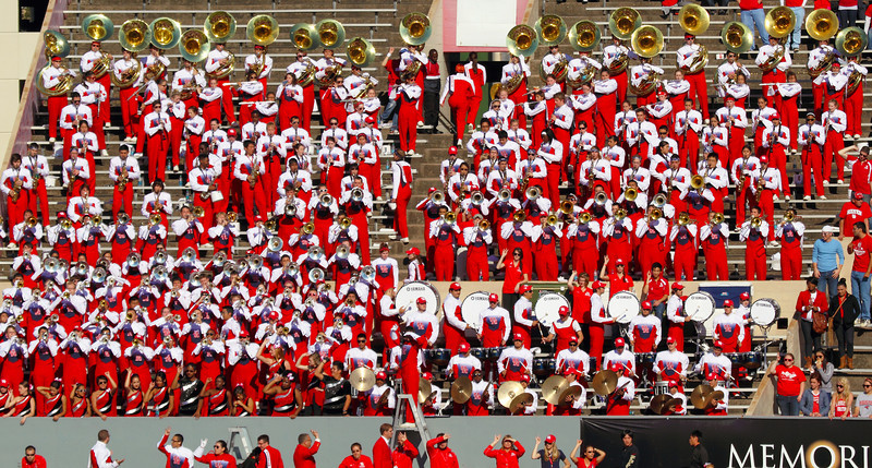 The UH marching band in the bleachers