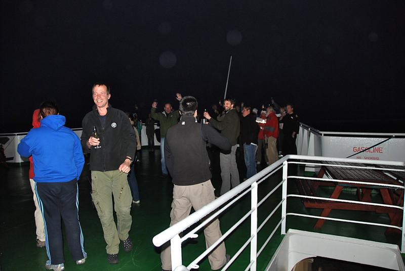 Celebrating crossing the Antarctic Circle!