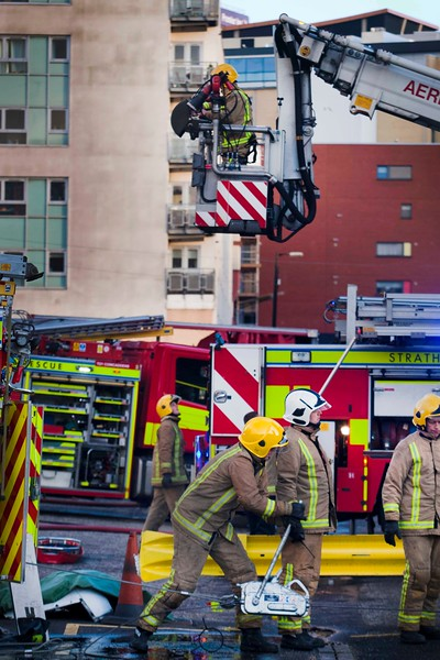Emergency Services on exercise at Cowcaddens Fire Station where they mocked a plane crash.