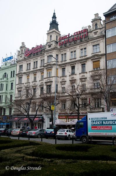 Buildings on Wenceslas Square, Prague