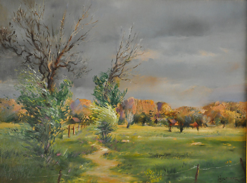 Pending Storm, Colorado  Oil on Canvas 18X24  skies darkening / Wind is picking up / The little settlement appearesisolated.