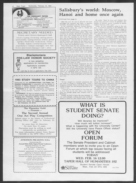 Daily Trojan, Vol. 93, No. 26, February 16, 1983