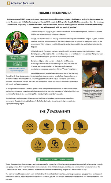 15.	Historic Catholic Records Project website image