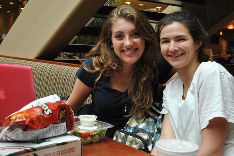 4-9-13: Student's Emily DeVries and Mary Toohey hang out in Tucker Student Center.