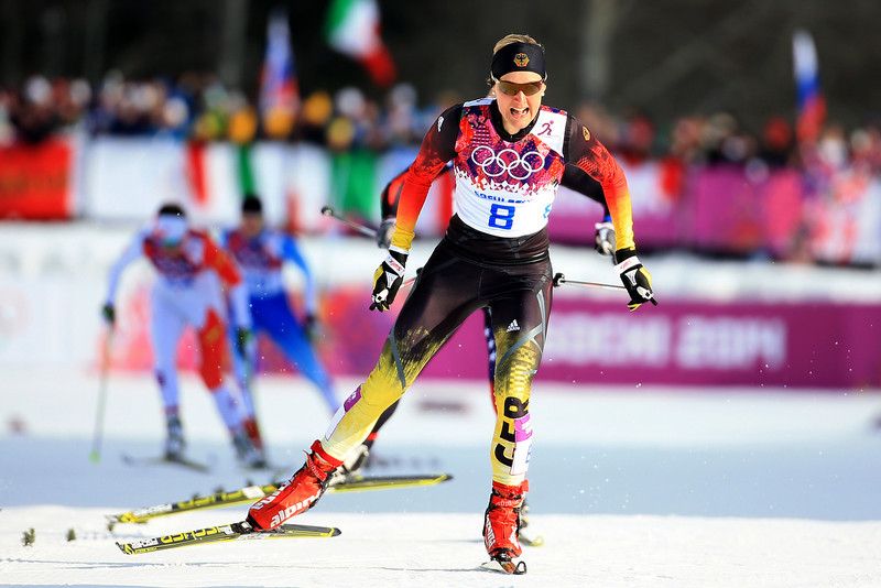 . Denise Herrmann of Germany competes in Finals of the Ladies\' Sprint Free during day four of the Sochi 2014 Winter Olympics at Laura Cross-country Ski & Biathlon Center on February 11, 2014 in Sochi, Russia.  (Photo by Richard Heathcote/Getty Images)