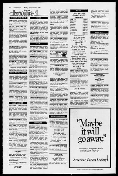 Daily Trojan, Vol. 90, No. 17, February 27, 1981