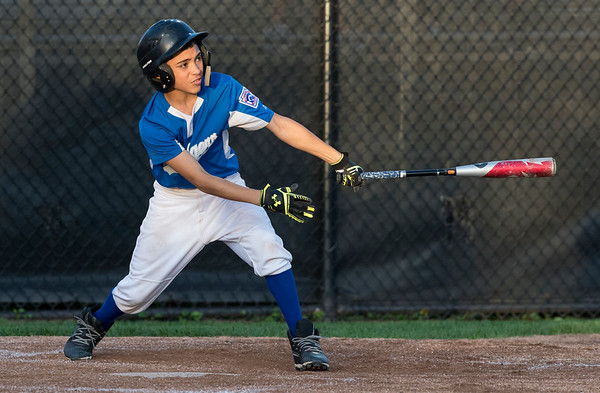 08/26/19 Wesley Bunnell | Staff The McCabe-Waters Astros defeated the Forrestville Dodgers 3-0 at Breen Field on Monday night in the city series to force a winner takes all on Wednesday. Hector Rivera Martinez (8).