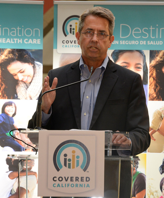 . Peter Lee, executive director of Covered California, addresses potential registrants at a Covered California event at the Panorama Mall in Panorama City, Calif., on Friday, March 28, 2014. Monday, March 31, is the deadline to enroll for this year. (Photo by Gene Blevins/Los Angeles Daily News)