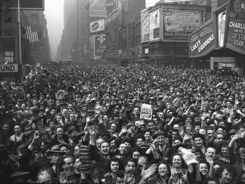 . This general view of Times Square, New York, was made at 11 a.m. on May 7, 1945, and shows New Yorkers jamming the streets to cheer the news of the unconditional surrender of Germany.  (AP Photo/Harry Harris)