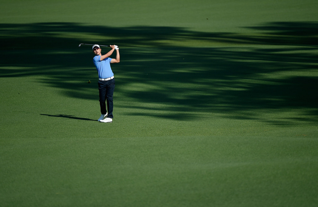 . Sang-Moon Bae of Korea plays a shot on the second hole during the second round of the 2014 Masters Tournament at Augusta National Golf Club on April 11, 2014 in Augusta, Georgia.  (Photo by Harry How/Getty Images)