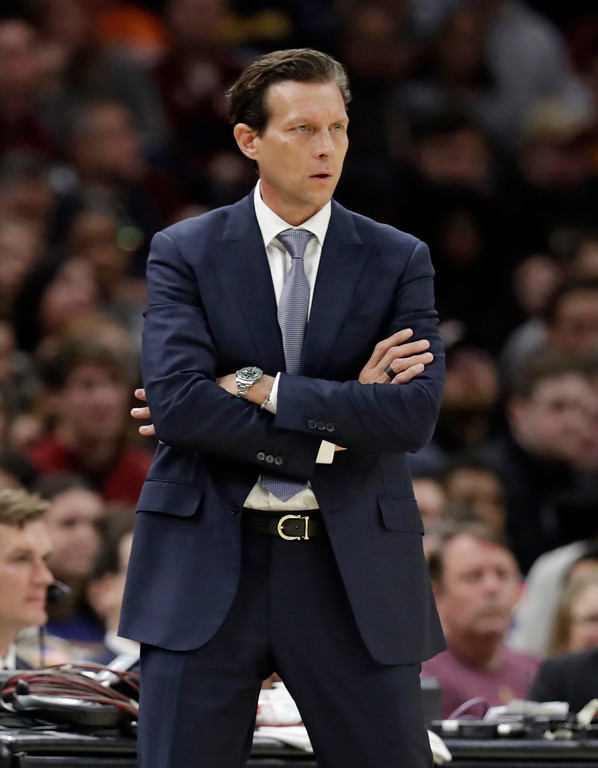 . Utah Jazz head coach Quin Snyder watches the first half of an NBA basketball game against the Cleveland Cavaliers, Saturday, Dec. 16, 2017, in Cleveland. (AP Photo/Tony Dejak)