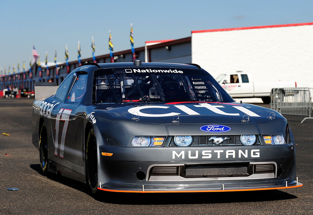 . The #17 Citi Ford Mustang Nationwide COT drives during testing for the NASCAR Nationwide Series new Car of Tomorrow at Talladega Superspeedway on November 2, 2009 in Talladega, Alabama.  (Photo by Rusty Jarrett/Getty Images for NASCAR)