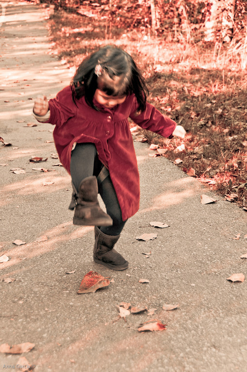 Stomping on leaves