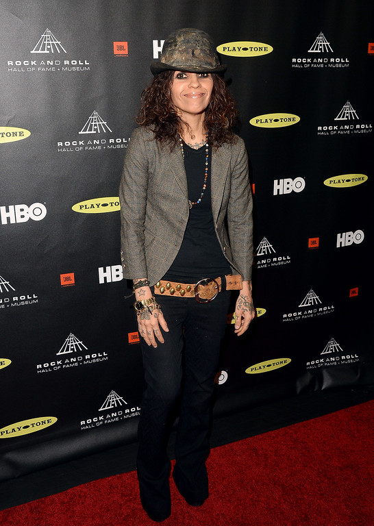 . Songwriter/producer Linda Perry arrives at the 28th Annual Rock and Roll Hall of Fame Induction Ceremony at Nokia Theatre L.A. Live on April 18, 2013 in Los Angeles, California.  (Photo by Jason Merritt/Getty Images)