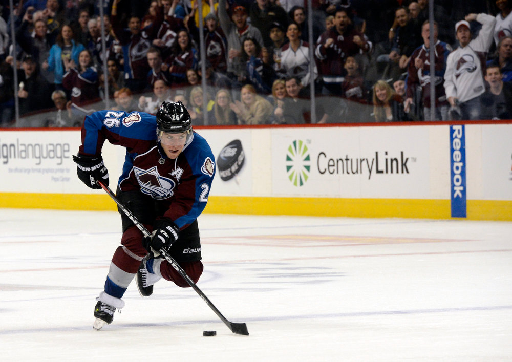 . DENVER, CO. - FEBRUARY 2ND: Paul Stastny, Colorado Avalanche, charges out of the penalty box after serving a delay of game penalty late in the third period against the Edmonton Oilers at the Pepsi Center in Denver Colorado, February 2nd, 2013. Avalanche won 3-1.  (Photo By Andy Cross / The Denver Post)