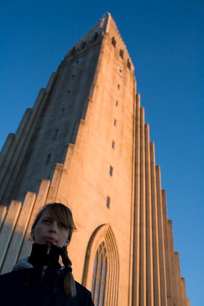Sonja in front of Hallgrimskirkja.