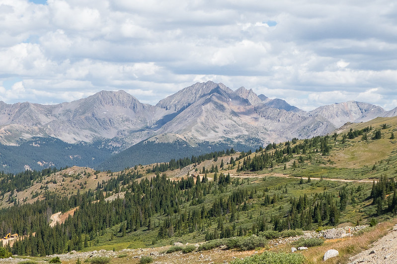 View from Cottonwood Pass (12,026 feet) - Ice Mountain, a tough 13er, in the middle