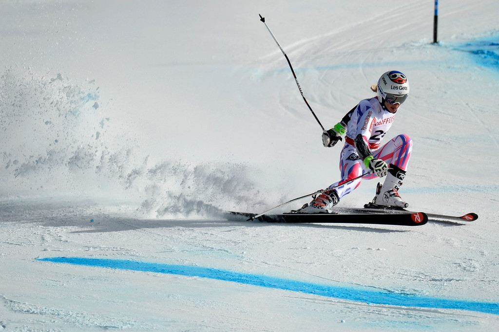 . BEAVER CREEK, CO - FEBRUARY 12: Adeline Baud of France loses her balance, but maintains it during the ladies\' giant slalom. FIS Alpine World Ski Championships 2015 on Thursday, February 12, 2015. (Photo by AAron Ontiveroz/The Denver Post)