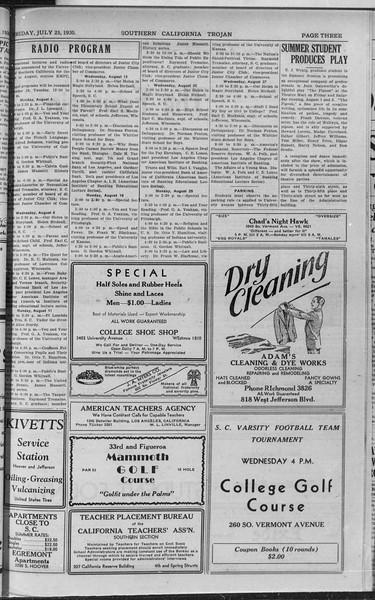 Southern California Trojan, Vol. 9, No. 9, July 26, 1930