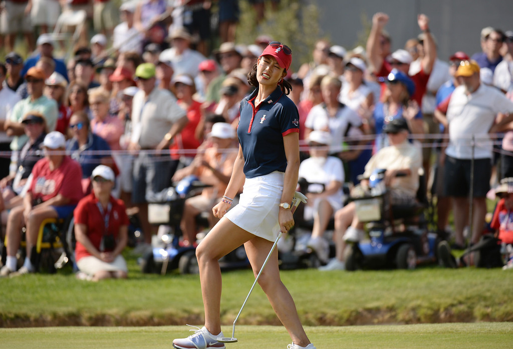 . PARKER, CO. - August 16: Michelle Wie of team USA shows emotion after missing a putt on 9th green during 2013 Solheim Cup at Colorado Golf Club. Parker, Colorado. August 16, 2013. (Photo By Hyoung Chang/The Denver Post)