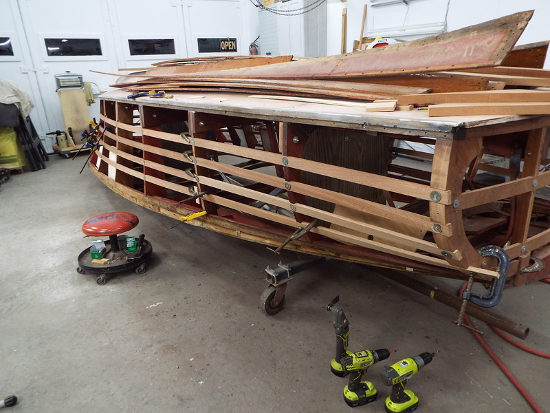 Rear starboard view of the new side battens being fit.