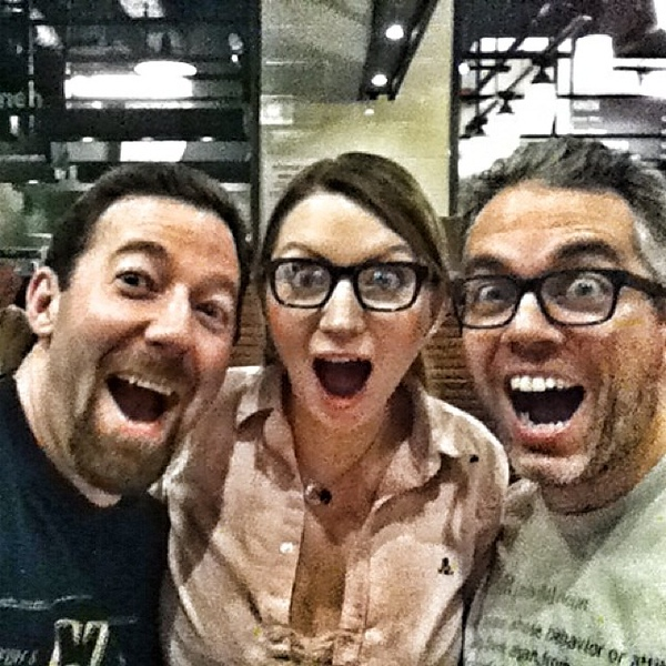 Way too much fun with @clayhebert & @juliaroy last night. Way way to early to fly home today.