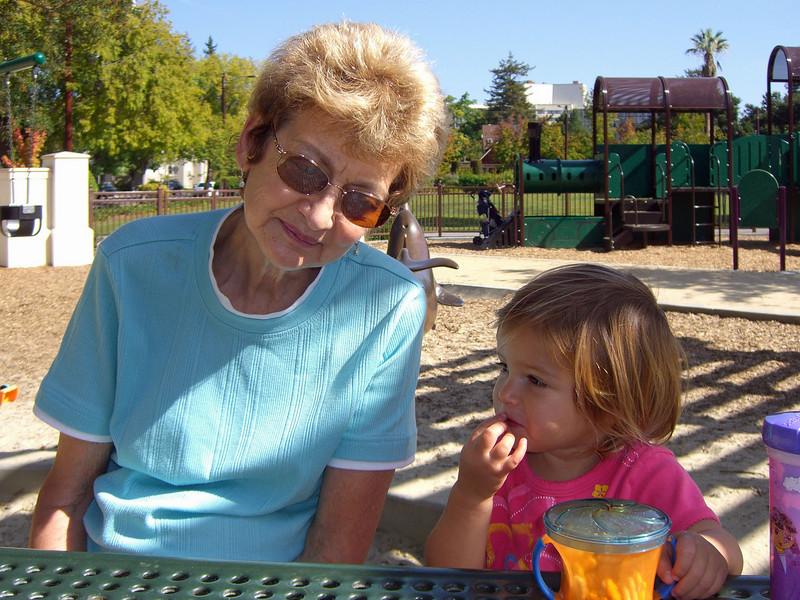 Marian, Hazel, gossip at Heritage Park. 011