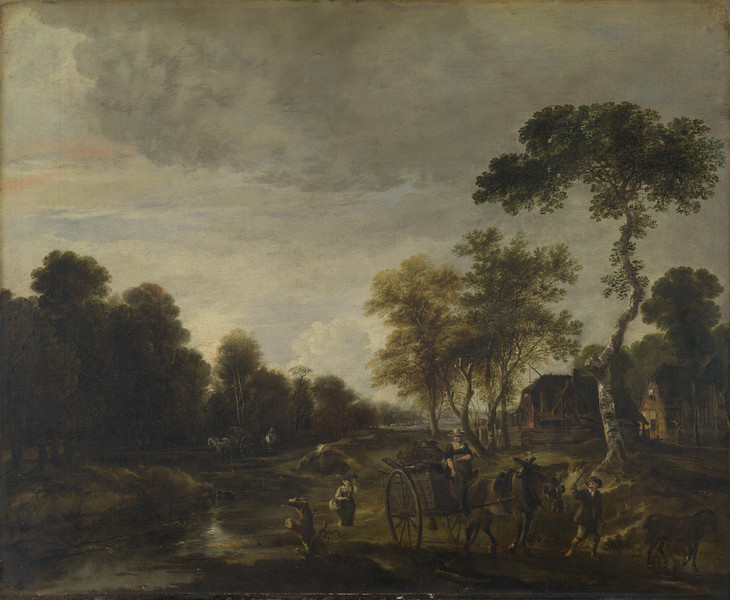 An Evening Landscape with a Horse and Cart by a Stream