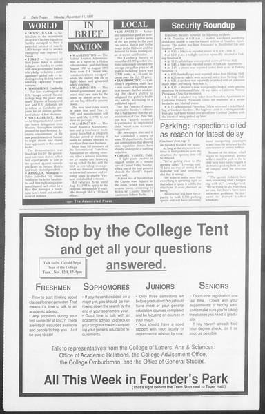 Daily Trojan, Vol. 116, No. 49, November 11, 1991