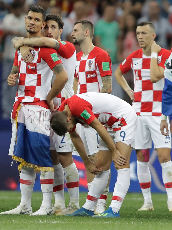 . Croatia\'s Andrej Kramaric looks down after the final match against France at the 2018 soccer World Cup in the Luzhniki Stadium in Moscow, Russia, Sunday, July 15, 2018. (AP Photo/Natacha Pisarenko)