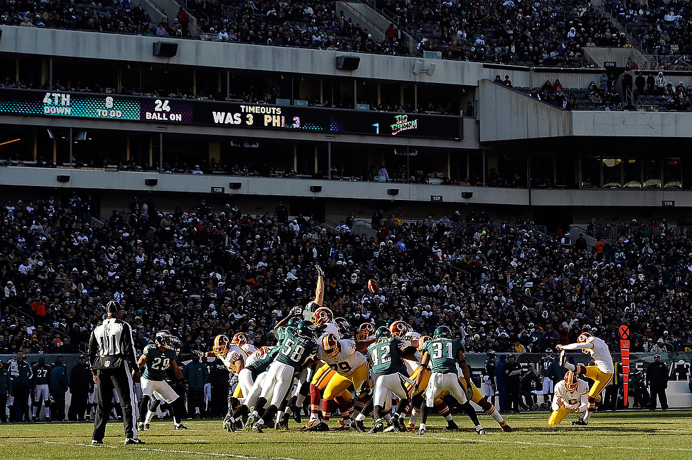 . Kai Forbath #2 of the Washington Redskins kicks a 42 yard field goal in the second quarter against the Philadelphia Eagles at Lincoln Financial Field on December 23, 2012 in Philadelphia, Pennsylvania. (Photo by Patrick McDermott/Getty Images)