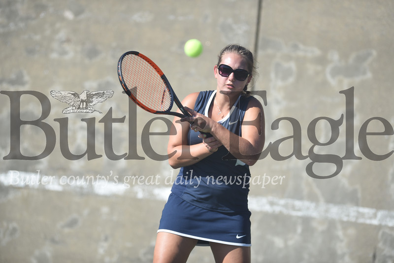 Harold Aughton/Butler Eagle: Butler's Lexi Chappel eyes up a return during last night's match against Mars.