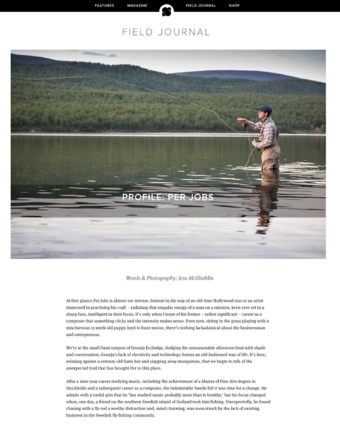 Feature article and images in the U.K.'s Sidetracked Magazine, from partnership with Swedish Lapland Tourism and Fish Your Dream.  February 2019.  https://www.sidetracked.com/fieldjournal/profile-per-jobs/