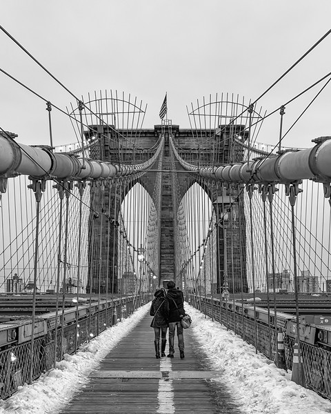 Lovers on the Bridge. Brooklyn Bridge, New York, U.S.A. February 16 around 5pm and 25 degrees.