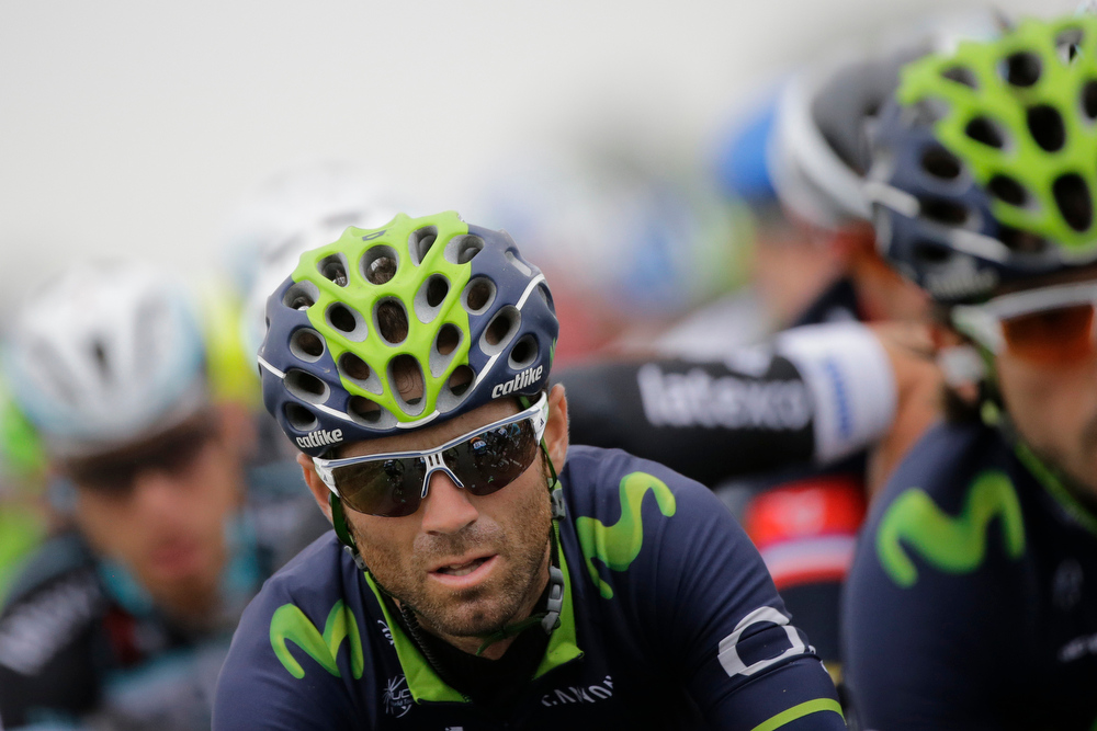. Spain\'s Alejandro Valverde rides in the pack during the sixth stage of the Tour de France cycling race over 194 kilometers (120.5 miles) with start in Arras and finish in Reims, France, Thursday, July 10, 2014. (AP Photo/Laurent Cipriani)